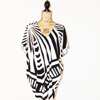 Black and White Abstract Tunic/ Caftan Mini Dress / Oversized Poncho Top/ Cover Up/ Reversible top/ OOAK
