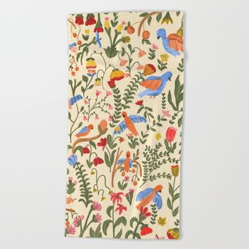 Tropical Garden Pattern Beach Towel by chotnelle
