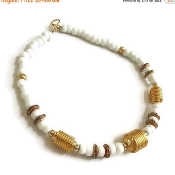 White Glass Bead Necklace with Gold Metal Spirals Vintage Modernist Beaded