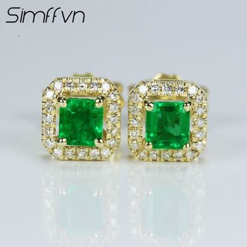 Simffvn Solitaire 0.42CT Round Cut 18k Yellow Gold With Natural Emerald Gemstone Anniversary Wedding Earring Engagement