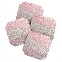 Lisa Argyropoulos Girly Pink Snowfall Coaster Set