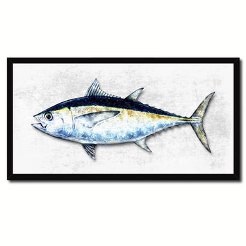 Blackfin Tuna Fish White Canvas Print Picture Frame Gifts Home Decor Nautical Wall Art