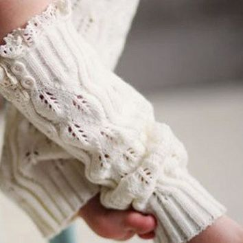 Girls Cozy Cream Legwarmers