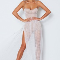 Totally Bangin' Mesh Maxi Dress White
