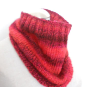 Hand Knit Cowl, infinity scarf, circle scarf, knit snood in shades of red