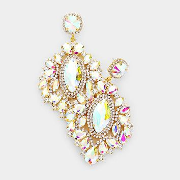 Pave Crystal Marquise Cluster Evening Earrings