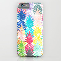 Hawaiian Pineapple Pattern Tropical Watercolor iPhone & iPod Case by Girly Trend
