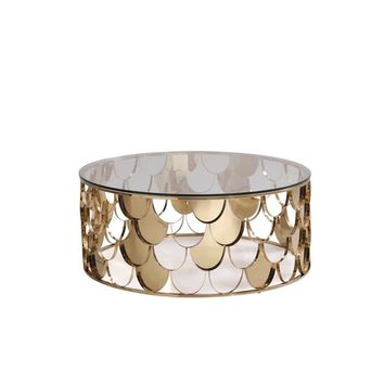 Javier Round Modern Glass & Champagne Gold Coffee Table