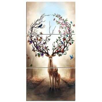 Seasons Change by JoJosArt   3 piece canvas art Deer tree flower wall picture