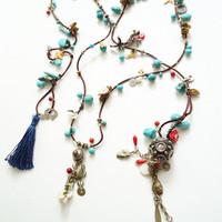 Blue Authentic Necklace With Indian Tassel, Turquoise Necklace, Long and Blue Necklace, Blue necklace, Authentic Necklace, For Mom