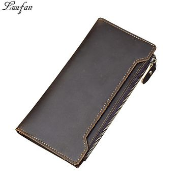 Genuine Leather long Wallet vintage crazy horse leather Men women Bifold purse Zipper Coin pocket Wallet card holder mens wallet