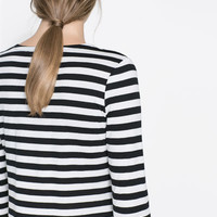 STRIPED CROPPED T - SHIRT - T - shirts - Woman | ZARA Canada