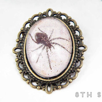 Antique Bronze & Black Spider Cameo Brooch, Antique Bronze Spider Brooch, Black Spider Brooch, Black Widow Brooch, Black Widow Cameo Brooch