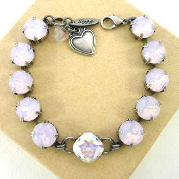 Rose water opal and Swarovski crystal 12mm square cut bracelet, chunky and fabulously feminine by Siggy