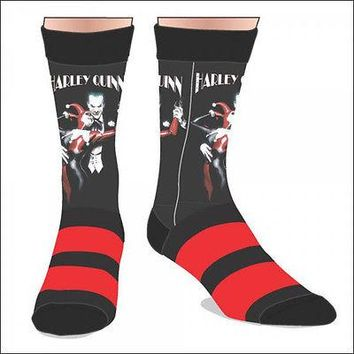 Harley Quinn & Joker DC Comics Costume Cosplay Sublimated Crew Socks LICENSED
