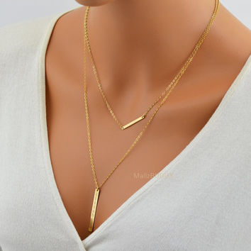 Gold Layered Necklace Set / Bar Necklace / Name Necklace / Personalized Layered Necklace / Two Bar Necklace / Skinny Bar / Long Bar Necklace