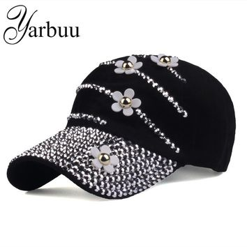 Trendy Winter Jacket [YARBUU] Baseball caps with flowers 2017 New style women Adjustable sun hat rhinestone denim hat and cotton snapback cap AT_92_12
