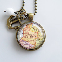 Map of Colombia - Bogota - South America - Pendant Necklace - Custom Jewelry - Travel Necklace - You Choose Bead and Charm - Personalized
