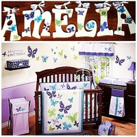 NOJO BEAUTIFUL BUTTERFLY INSPIRED HAND PAINTED WOOD WALL LETTERS
