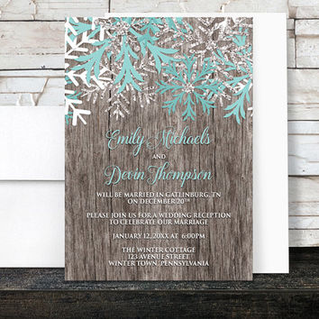 Rustic Winter Reception Only Invitations Teal - Country Rustic Winter Wood Teal Snowflake - Snowflake Post Wedding Reception - Printed