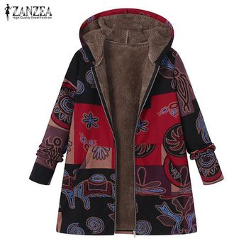 Trendy ZANZEA 2018 Winter Women Plush Fluffy Casual Hooded Long Sleeve Warm Jacket Coat Plus Size Faux Fur Vintage Printed Outerwear AT_94_13