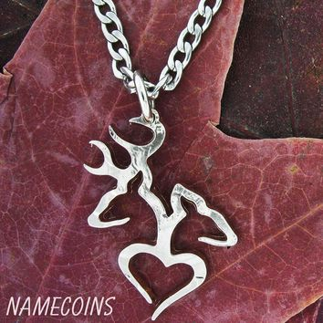 Country Necklace Buck Doe Love Heart in 1/2 dollar by NameCoins
