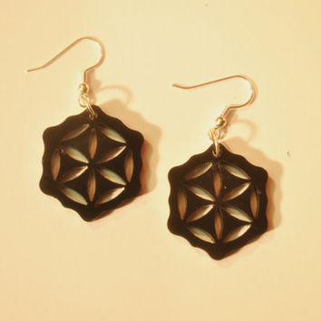 Flower of life wooden earrings black acrylic seed of life sacred geometry upcycled laser cut jewelry