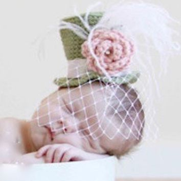 Baby Top Hat With Netting (Mad Hatter) Newborn Photo Prop - CCATG7