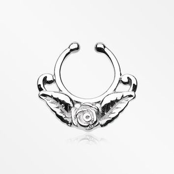 Rose Blossom Filigree Fake Septum Clip-On Ring