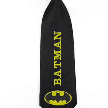 Batman superheroes writing necktie, mens skinny tie, justice league ties, comicbook wedding accessories
