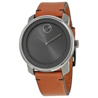 Movado Bold Grey Dial Brown Leather Ladies Watch 3600366