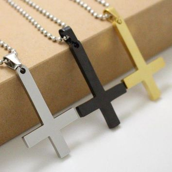 ac spbest 316L Stainless Steel Inverted Cross of St Peter Pendant Necklace Lucifer Satan Satanism jewelry fashion punk jewelry