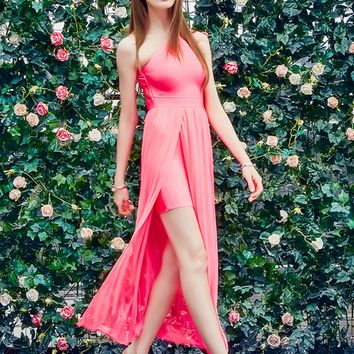 Hot Pink Chiffon Slit Prom Dress