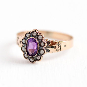 Victorian Amethyst Ring - 9k Rosy Yellow Gold .45 CT Purple Gemstone - Seed Pearl Halo 1800s Size 8 Vintage February Birthstone Fine Jewelry