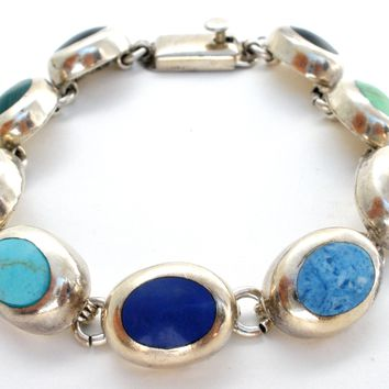 Mexican Multi Gemstone Bracelet Sterling Silver