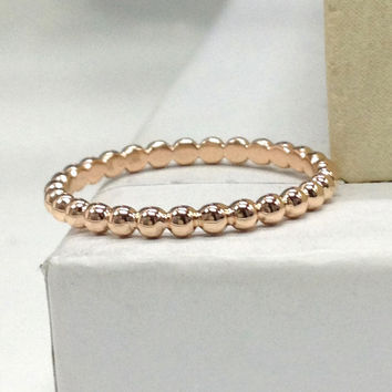 NEW Design!Plain Gold Wedding Ring,14K Rose Gold,Full Eternity Matching Band,Anniversary Ring,Stackable,Fine Bead,Fashion,Custom handmade