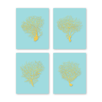 Coral Wall Art Gold Coral Print Set Coral Art Prints Beach House Decor Living Room Decor Gold Artwork Bedroom Art Aqua and Gold Art CS-002