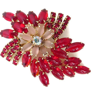 Red Rhinestone Brooch, Vintage Juliana Style Brooch, Red & Pink Navettes, Round Rhinestones, Large Floral Pin, Statement Brooch