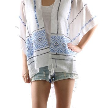 Blue Tribal Print Cover Up Poncho Scarf