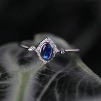 HAWTHORNE. Detailed Royal Blue Silver Ring – REGALROSE