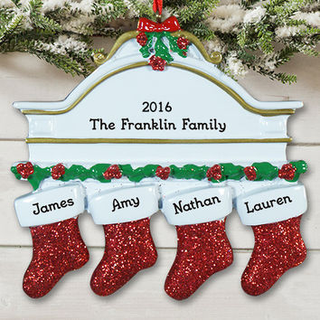 Personalized Family Names Christmas Stocking Ornament