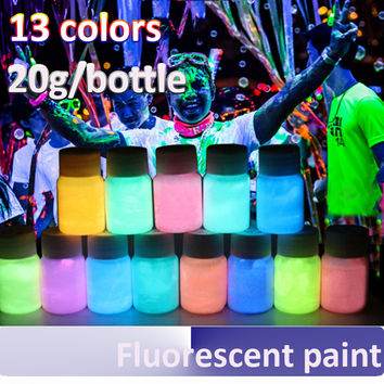 20g water based liquid luminous coating super bright Fluorescent paint 13 colors Luminous Acrylic paints glow in dark