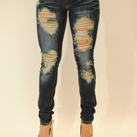 Dark wash distressed vintage jeans