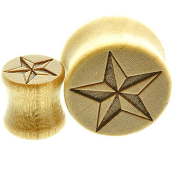 "Wooden Ear Plugs Nautical Star Design Sold As a Pair -00 Gauge -1/2"" - 9/16"" - 5/8"" - 11/16"""