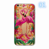 Animals Transparent Case For Iphone 7 6 6s Floral Paisley Grils Flamingo Love Words Phone Cover TPU Silicone Fundas Cases -0329