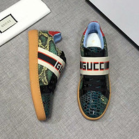 GUCCI 2018 new snakeskin color matching ribbon sports shoes F-XIMIN-WMNX #1