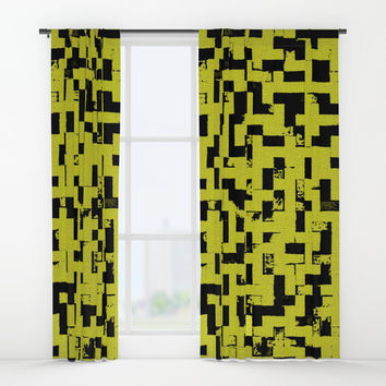 Grunge tiles, tetris style, nostalgic black squares on yellow pattern Window Curtains by Casemiro Arts - Peter Reiss