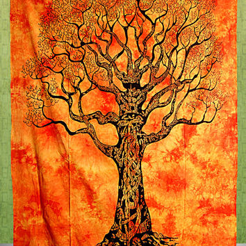 Twin Tree of Life Tapestry,  Hippie Tapestries Wall Hanging, Cotton Bedspread Bed Sheet Cover, Bohemian Boho Coverlet, Twin Bedding
