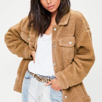 Missguided - Tan Oversized Trucker Jacket