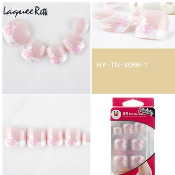 Professional French Fake Nails Toe Tips french artificial nails kit 24 Pcs/set Acrylic Nails overheadoval for Toe